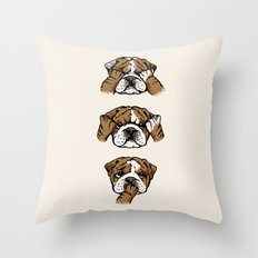 No Evil English Bulldog Throw Pillow