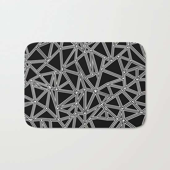 Abstract New White on Black Bath Mat