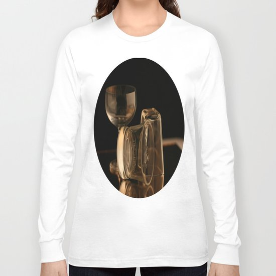 Glasses in Gold Tones Long Sleeve T-shirt