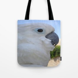 Side Portrait Of A Blue-Eyed Cockatoo Tote Bag