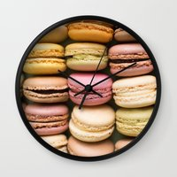 macaron Wall Clocks featuring Macarons I by SouvenirPhotography