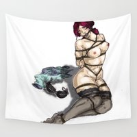 bondage Wall Tapestries featuring Bondage Girl by Blue Muse Galaxy