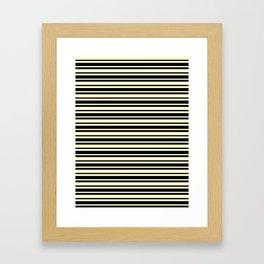 Cream Yellow and Black Horizontal Var Size Stripes Framed Art Print