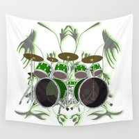 drum Wall Tapestries featuring Drum Kit with Tribal Graphics by PhantomLiving