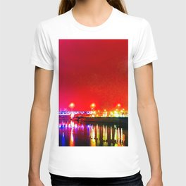 Skyscrapers, River, Red Night T-shirt