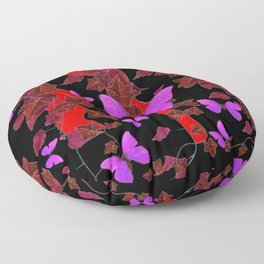 RED-PURPLE BLACK BUTTERFLY IVY ABSTRACT  ART Floor Pillow