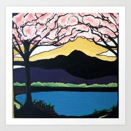 Cherry Blossoms Over Mt.Tam Art Print