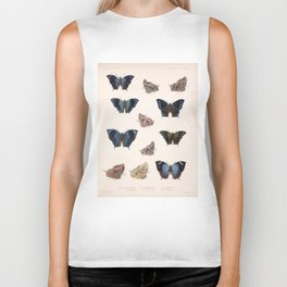 Vintage Scientific Insect Butterfly Moth Biological  Species Anatomy Illustration Biker Tank
