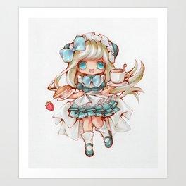 Kawaii Waitress Art Print