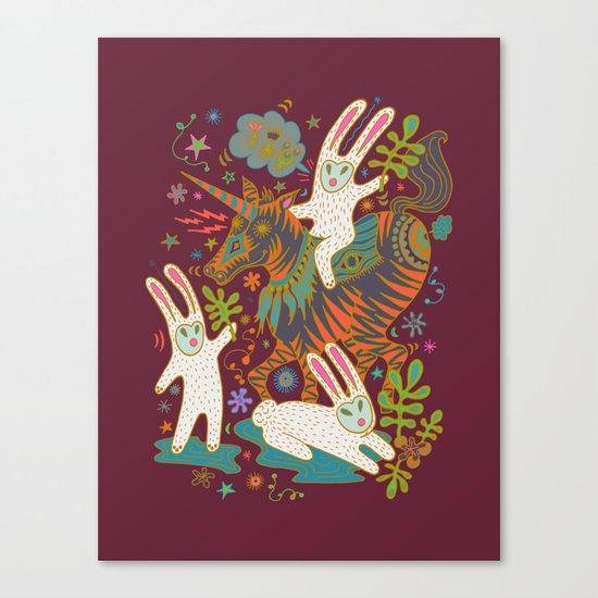 Three Rabbits and a Unicorn Canvas Print