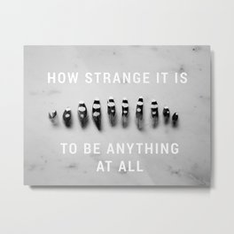 How Strange It Is to Be Anything At All - Feathers on Marble Metal Print