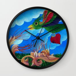 Flight of the wounded heart Wall Clock