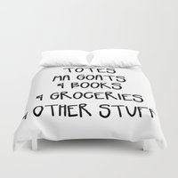tote bag Duvet Covers featuring Totes Ma Goats & Books & Groceries & Other Stuff Tote Bag by Corrie Jacobs