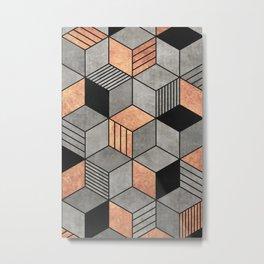 Concrete and Copper Cubes 2 Metal Print