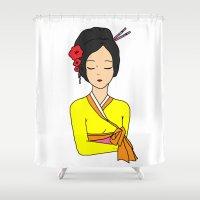 korean Shower Curtains featuring Korean Maiden by RaJess