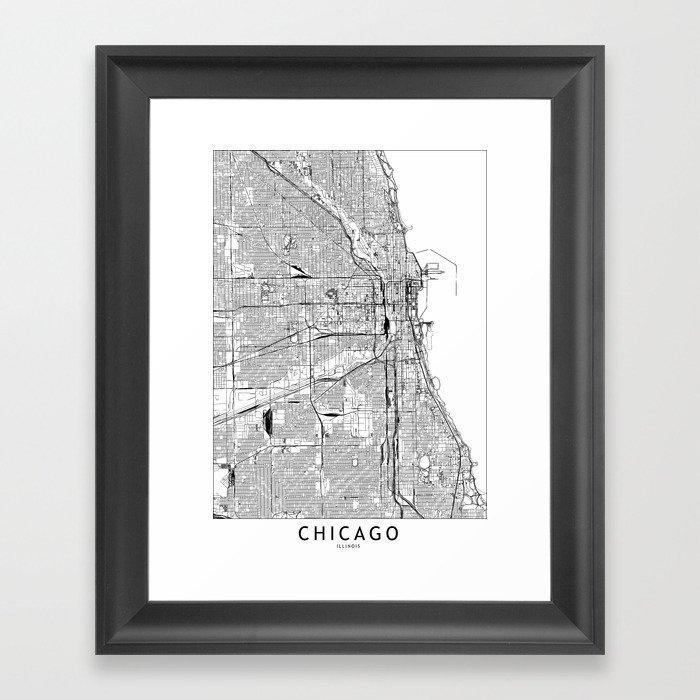 Chicago White Map Gerahmter Kunstdruck