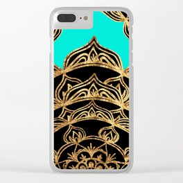Gold Lace on Turquoise Clear iPhone Case
