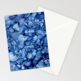 Stone Washed Denim:Original Abstract Alcohol Ink Painting Stationery Cards