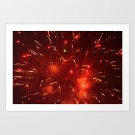 Red Fireworks Art Print