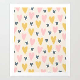 Colorful Hearts Pattern - Cream Art Print