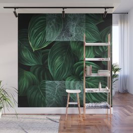 tropical green pattern on black Wall Mural
