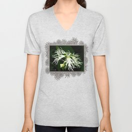 Dianthus named Superbus White Unisex V-Neck