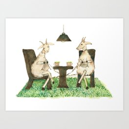 Sheep knitting Art Print