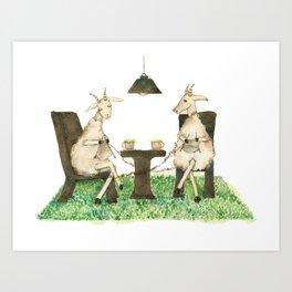 Sheep knitting Art Print
