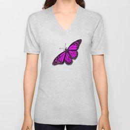 Pink Monarch Butterfly Unisex V-Neck