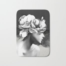 Floral Portrait-black and white Bath Mat