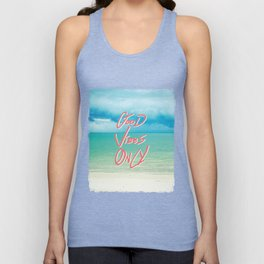 """""""Good Vibes Only""""  Quote - Turquoise Tropical Sandy Beach Unisex Tank Top"""