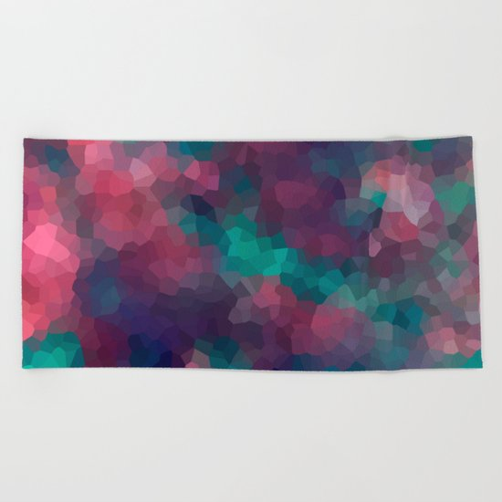 Abstract pattern blue raspberry and turquoise crystals . Beach Towel