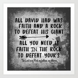 The Lord is my Rock Quote with Scripture Art Print