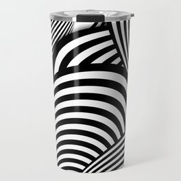 Black and White Flower Pattern - Digital Illustration - Artwork Travel Mug