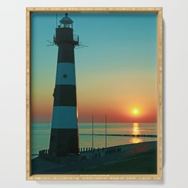 Sunset by the old Lighthouse in Breskens, Netherlands Serving Tray
