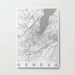 Geneva Map Line Metal Print