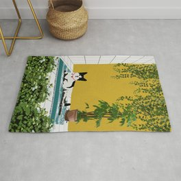 Cute Little Cat Seat In Relax Mood Rug
