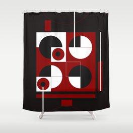 Geometric/Red-White-Black  1 Shower Curtain