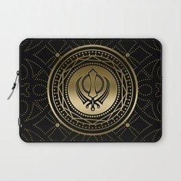 Decorative Khanda symbol gold on black Laptop Sleeve