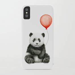 Panda and Red Balloon Baby Animals Watercolor iPhone Case