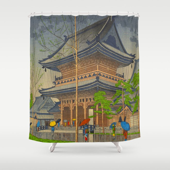 Rain in Higashi-Honganji Temple, Kyoto Asano Takeji Japanese Woodblock Print Shower Curtain