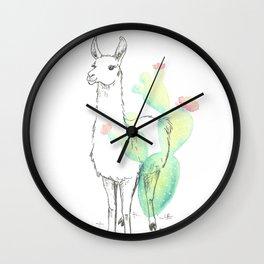 Llama cactus ink and watercolor Wall Clock