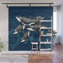 Orca Whales Family Indigo Vintage Map Wall Mural