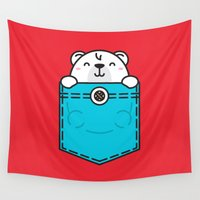 pocket Wall Tapestries featuring Pocket Polar by Steven Toang
