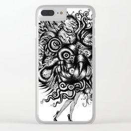 Spaceship Girl_Black Clear iPhone Case