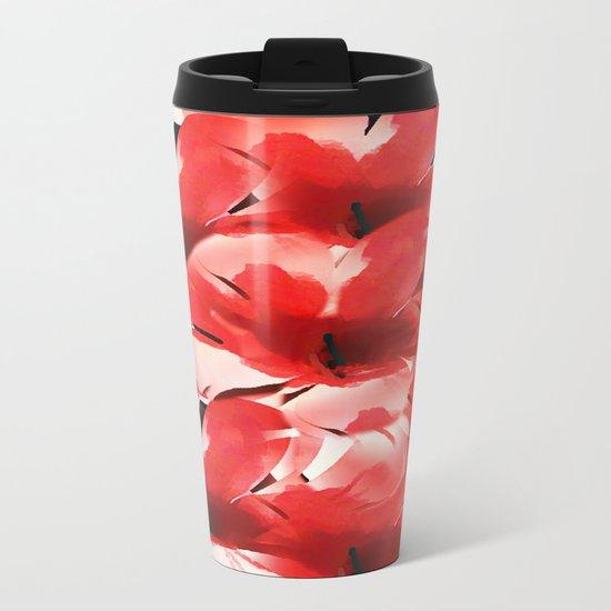 Red Poppies - Painterly Metal Travel Mug