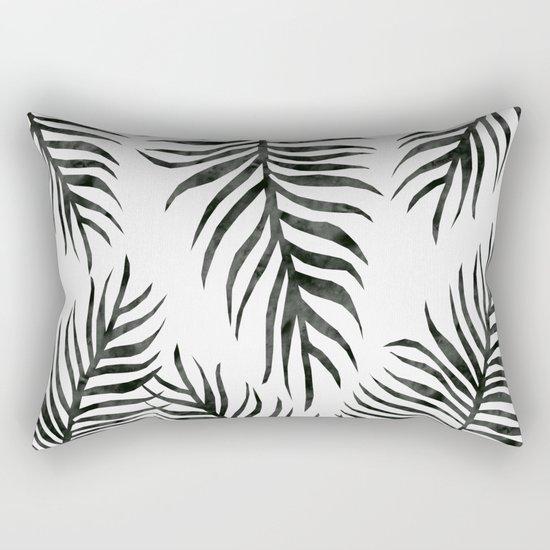 Black Fern Pattern Rectangular Pillow