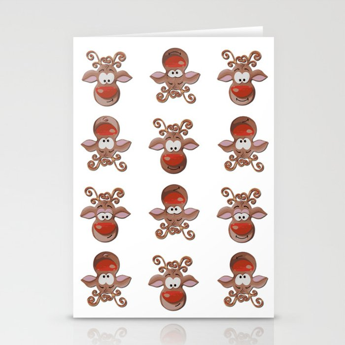 Rudolph The Red Nosed Reindeer Pattern White Stationery Cards By
