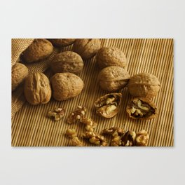 Walnuts on Bamboo Canvas Print