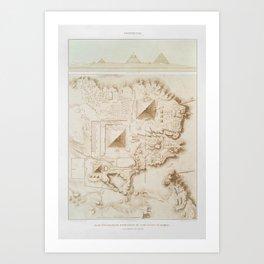 Topographic map of part of the Memphite Necropolis Art Print